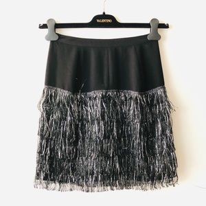 VENA CAVA Black and Silver Fringe Skirt
